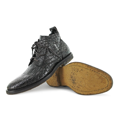 R3035 - Brown Moc Croc Lace Up