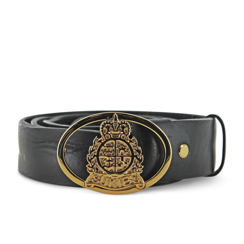 Curve Wave Black Leather Belt