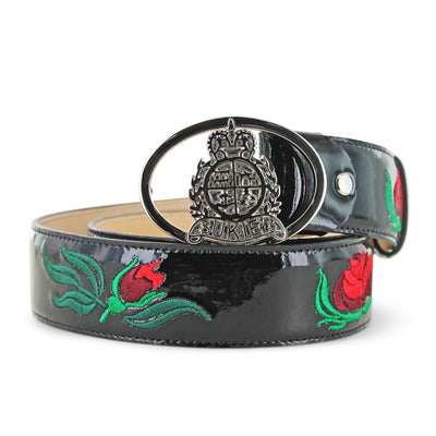 Black Patent Rose Leather Belt