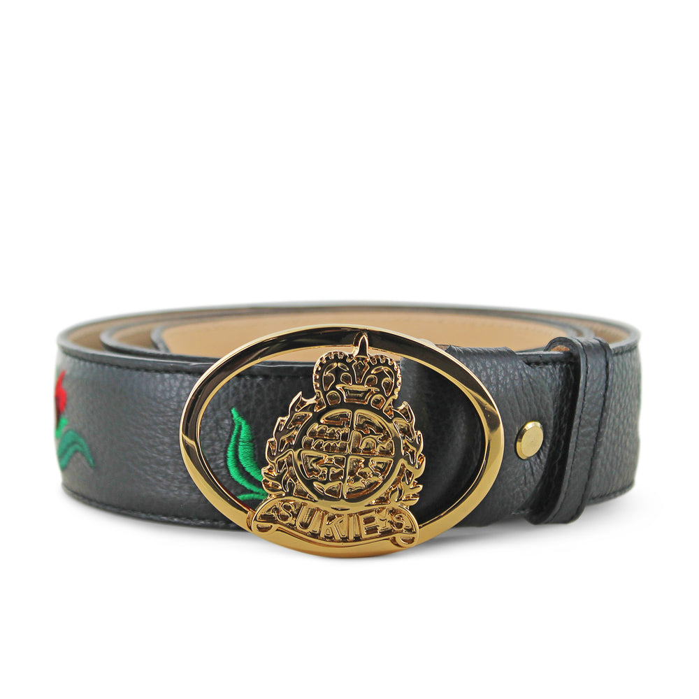 Black Calf Leather Rose Belt
