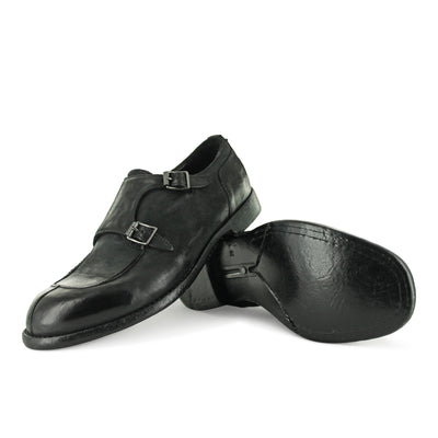 AA03A - Black Nubuck Double Monk