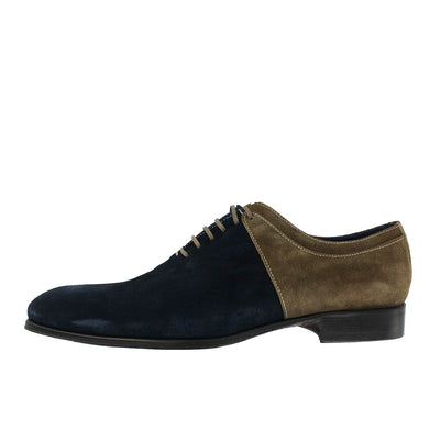 1509 - Navy Suede With Beige Suede