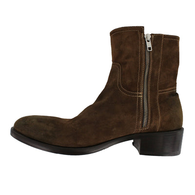 4103 - Brown Suede Double Zip Ankle Boot
