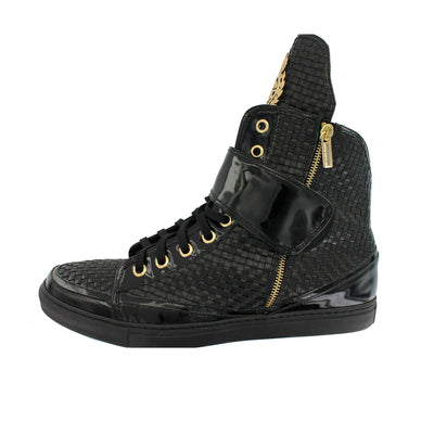 P320- Black Interwoven Hi-Top Trainer