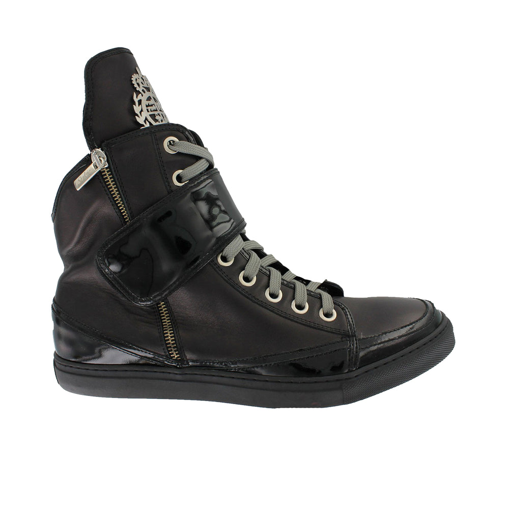 P320 - Black Kangaroo Leather Hi-Top With Sukies Crest