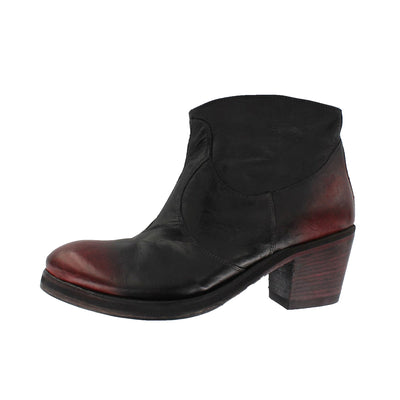 TaniaB - Black Ankle Boot With Cherry Red Toe Cap