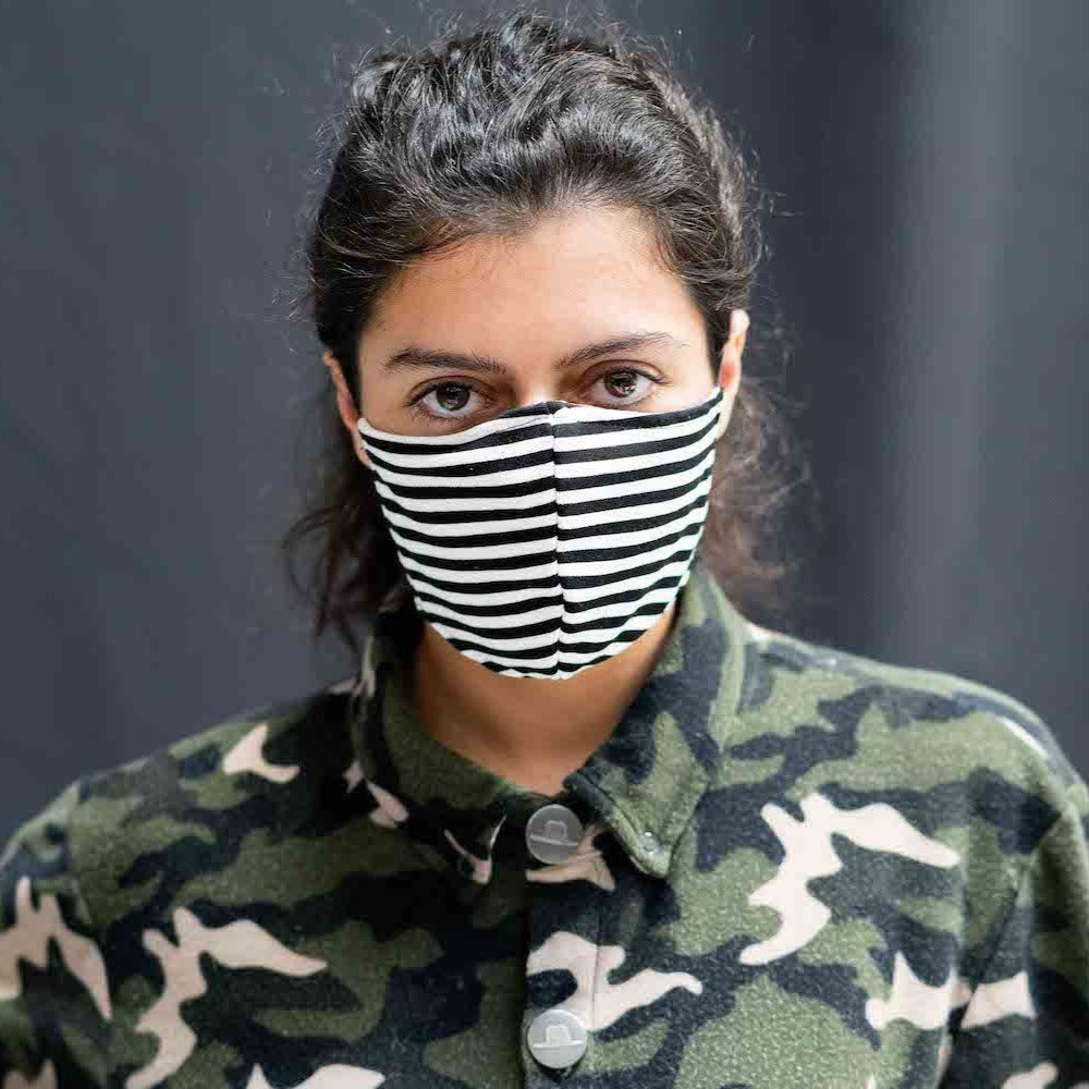Stripe Face Mask stylish funky sustainable fashion covid-19 coronavirus