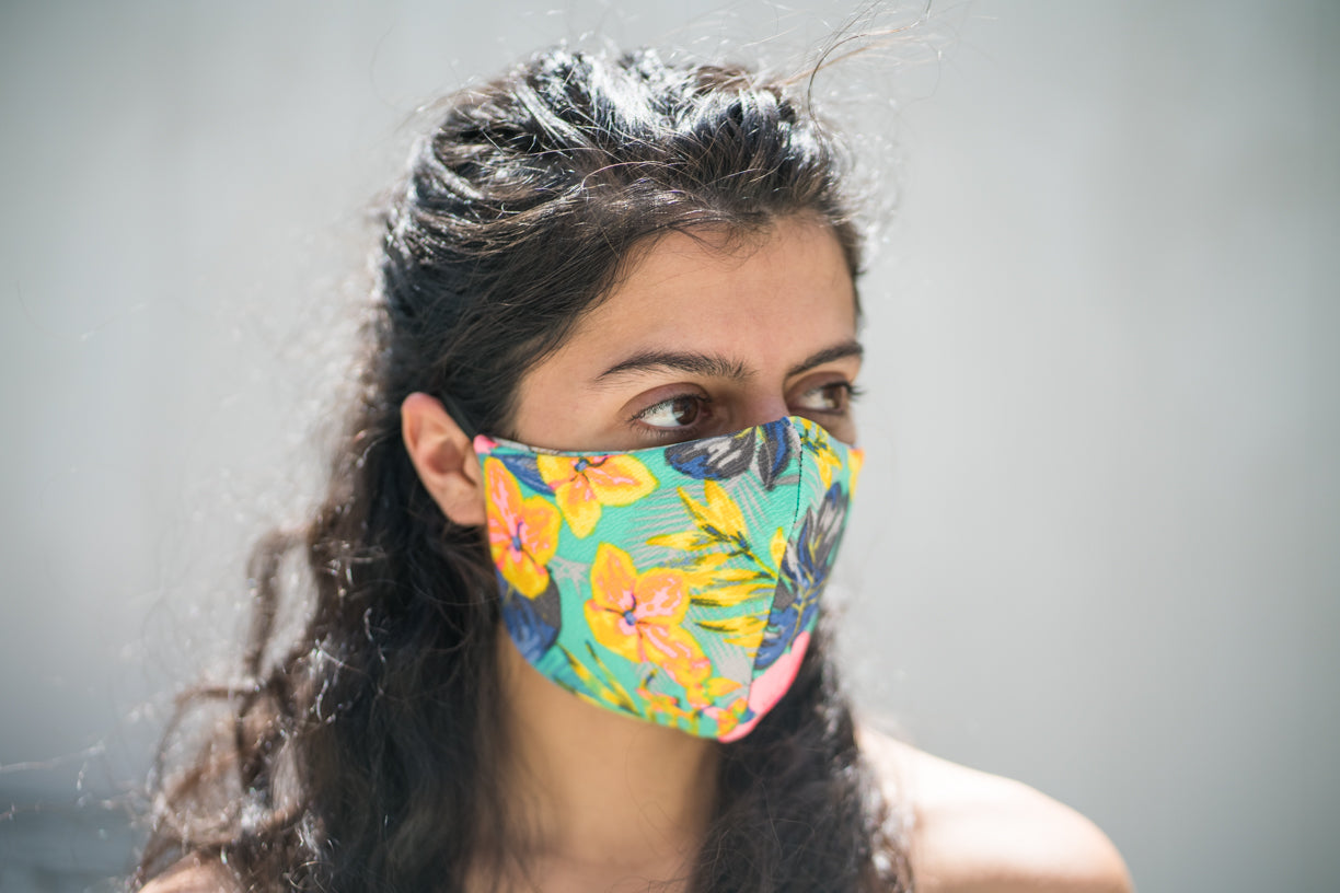 Stretchy fashion comfortable sustainable Aqua Mahalo Flowers Garden life adventure clothing face mask covering