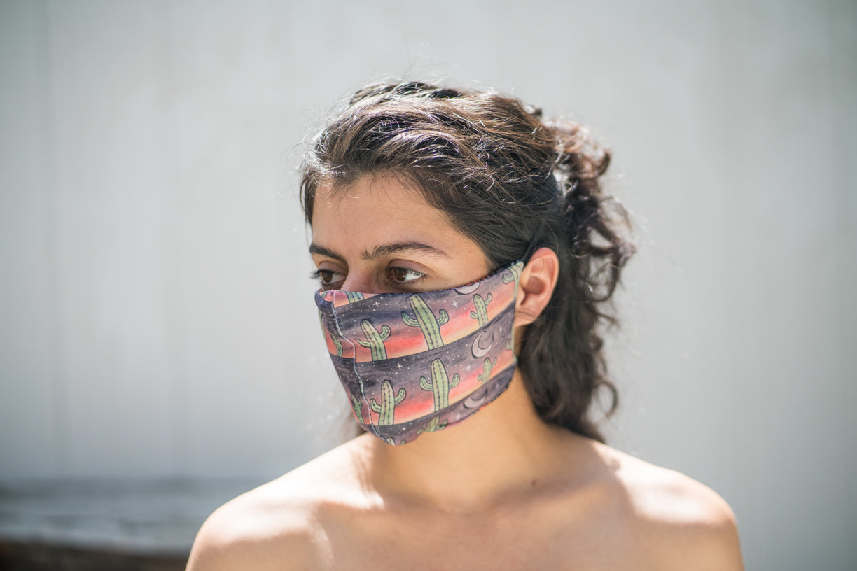 Stretchy fashion comfortable sustainable Joshua Tree Cactus Desert Sun Stars life adventure clothing face mask covering