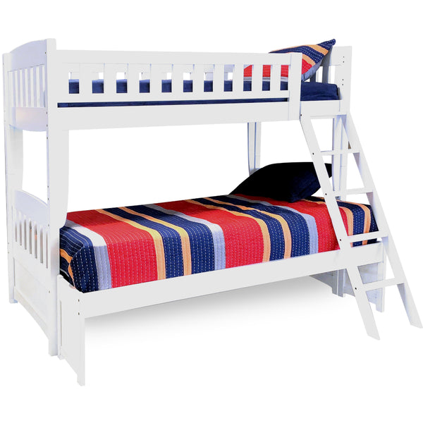 Cinnamon Twin Over Double White Bunk Bed