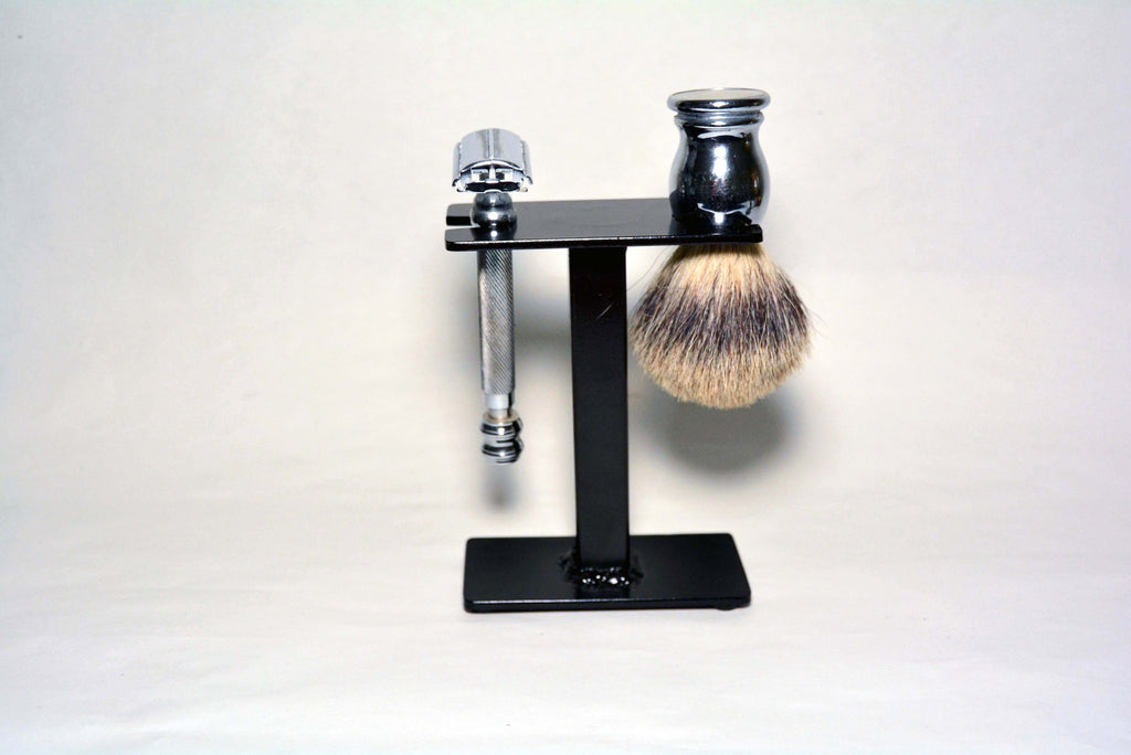 Compact Shaving Stand for Razor, Brush, and Accessories. Gloss black finish.