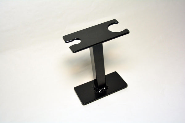 Compact Shaving Stand for Razor, Brush, and Accessories. Hammered Black in color.