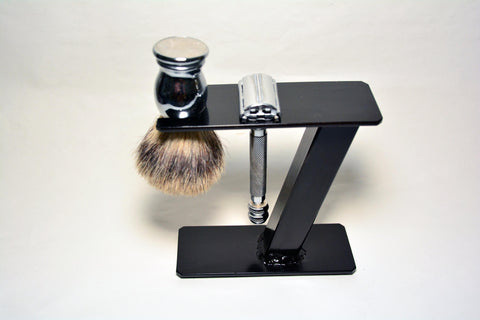 Small Shaving Stand for Razor, Brush, and Accessories. Gloss Black Finish.