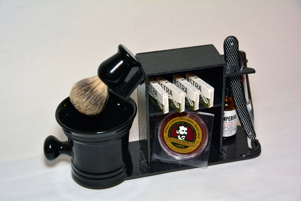 "Shaving Stand for Straight Razor, Brush, Cup, and Accessories, 3"" base. Hammered Black Finish."