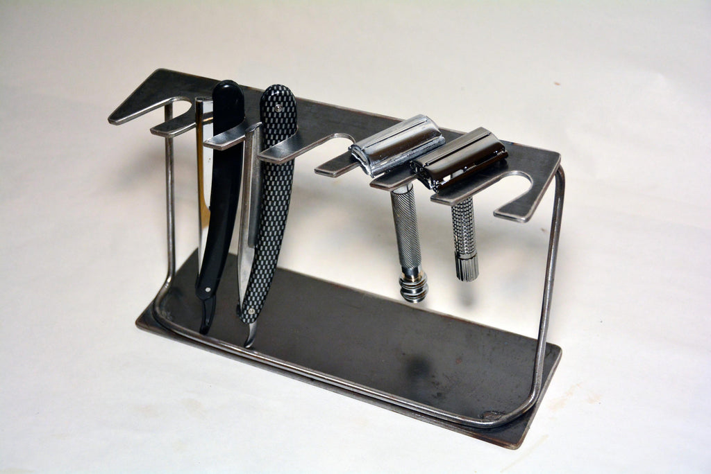 Seven Day Razor Display Stand for Straight and/or Double Edge Safety Razors. Natural Finish.