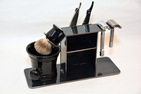 "Shaving Stand for Two Straight Razors, Two Double Edge / Safety Razor, Brush, Cup, and Accessories, 3"" base."