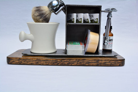 "Shaving Stand for Razor, Brush, Cup, and Accessories, 3"" base.  Natural Finish."