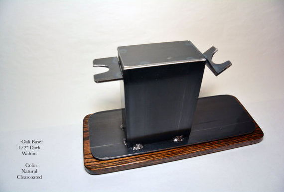 "Shaving Stand for Razor, Brush, Cup, and Accessories, 4"" base. Natural Finish."