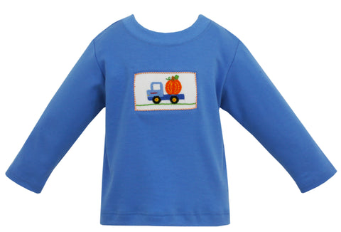 Pumpkin L/S Smocked Shirt Claire & Charlie