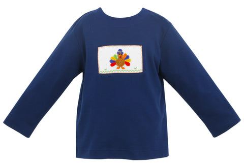 Turkey Smocked Boys L/S Tee Claire & Charlie