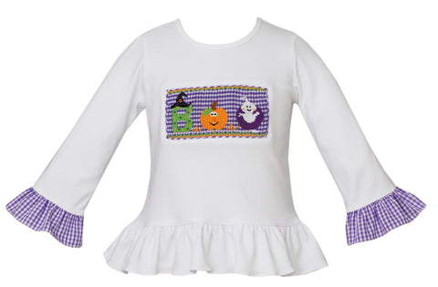 Halloween Smocked Ruffle Tee Claire and Charlie