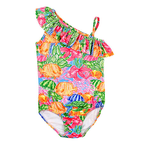 Tropical Fish Print Ruffle Swimsuit The Bailey Boys