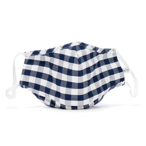 Navy Gingham Child Face Mask Petite Plume