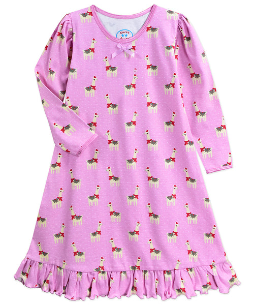 Happy Llama L/S Gown Sara's Prints