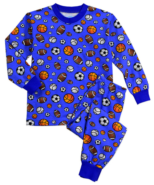 Balls on Blue 2pc Pjs Sara's Prints