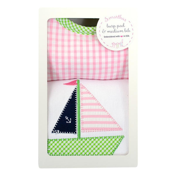 Pink Sailboat Medium Bib & Burp Set 3 Marthas