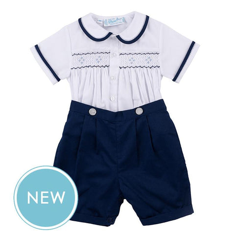 White and Navy Button Short Set Feltman Brothers
