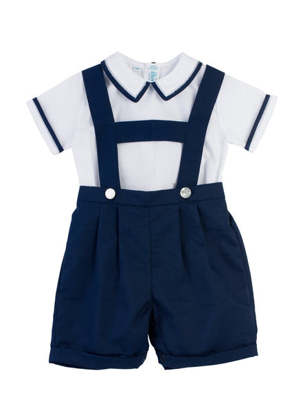White & Navy Suspender button on short Feltman Brothers