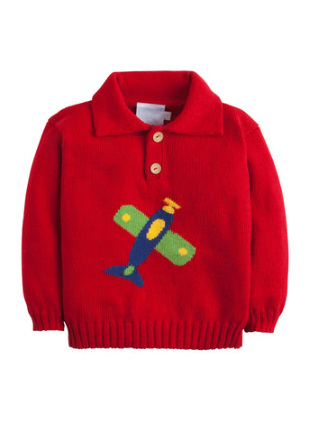 Airplane Button Up Intarsia Sweater Little English