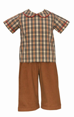 Khaki Plaid Pants Set Claire & Charlie