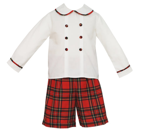 Red Plaid Shorts Set Claire & Charlie
