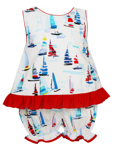 Sailboat Print Bloomer Set Claire and Charlie