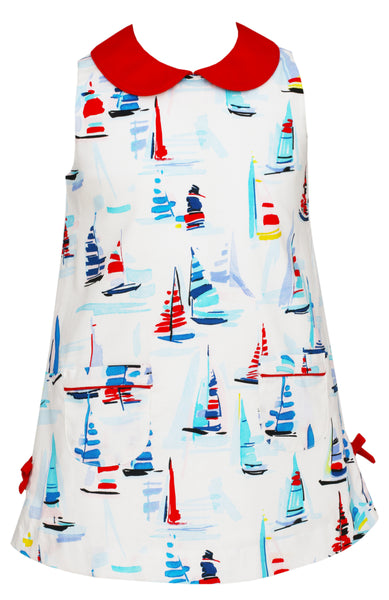 Sailboat Print Shift Dress Claire and Charlie