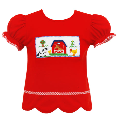 Farm Smocked Girls Shirt Anavini