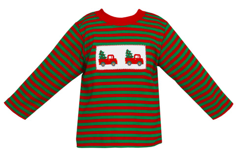Christmas Tree Truck Smocked Tee Anavini