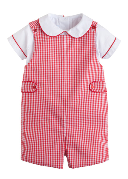 Red Plaid John John Set Little English