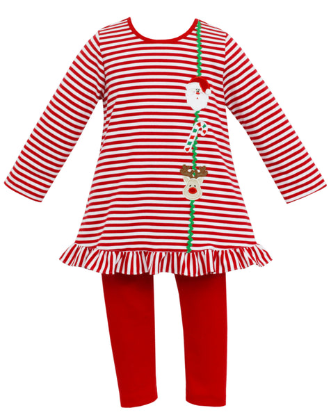 Santa Face/Reindeer Tunic Set Claire & Charlie