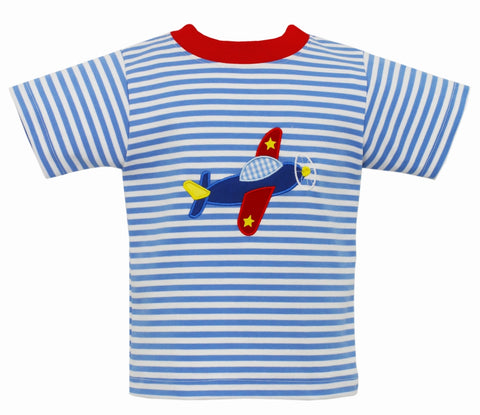 Airplane Applique S/S Tee Claire & Charlie