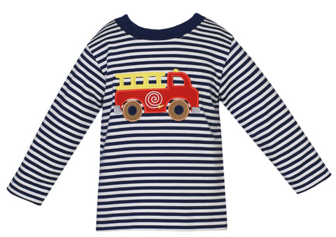 Firetruck  L/S Applique Tee Claire and Charlie