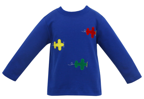 Airplanes Applique L/S Tee Claire & Charlie