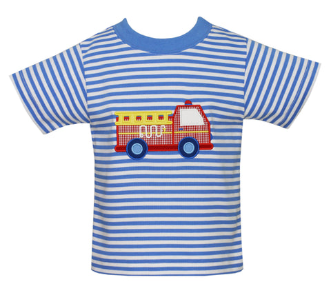 Firetruck Applique S/S Tee Claire and Charlie