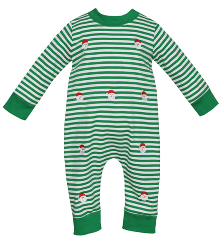 Santa Faces Embroidered Knit Romper Anavini