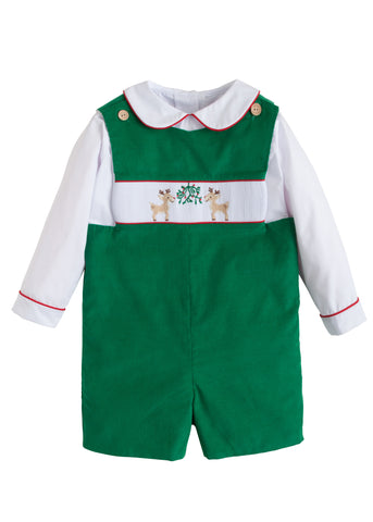 Reindeer Smocked John John Set Little English