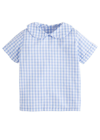Cornflower Gingham Peter Pan Shirt Little English
