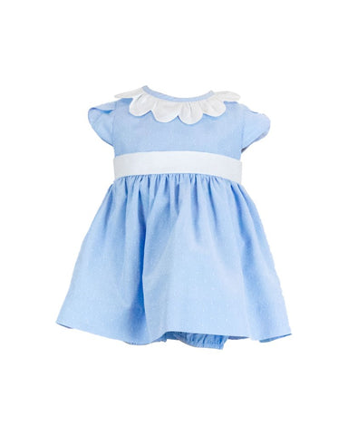 Blue Dot Dress w/Petal Sleeves and Bloomer Florence Eiseman