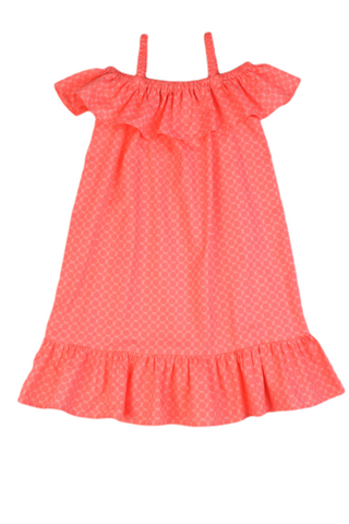 Coral Print Ruffle Shoulder Dress Maggie Breen Too
